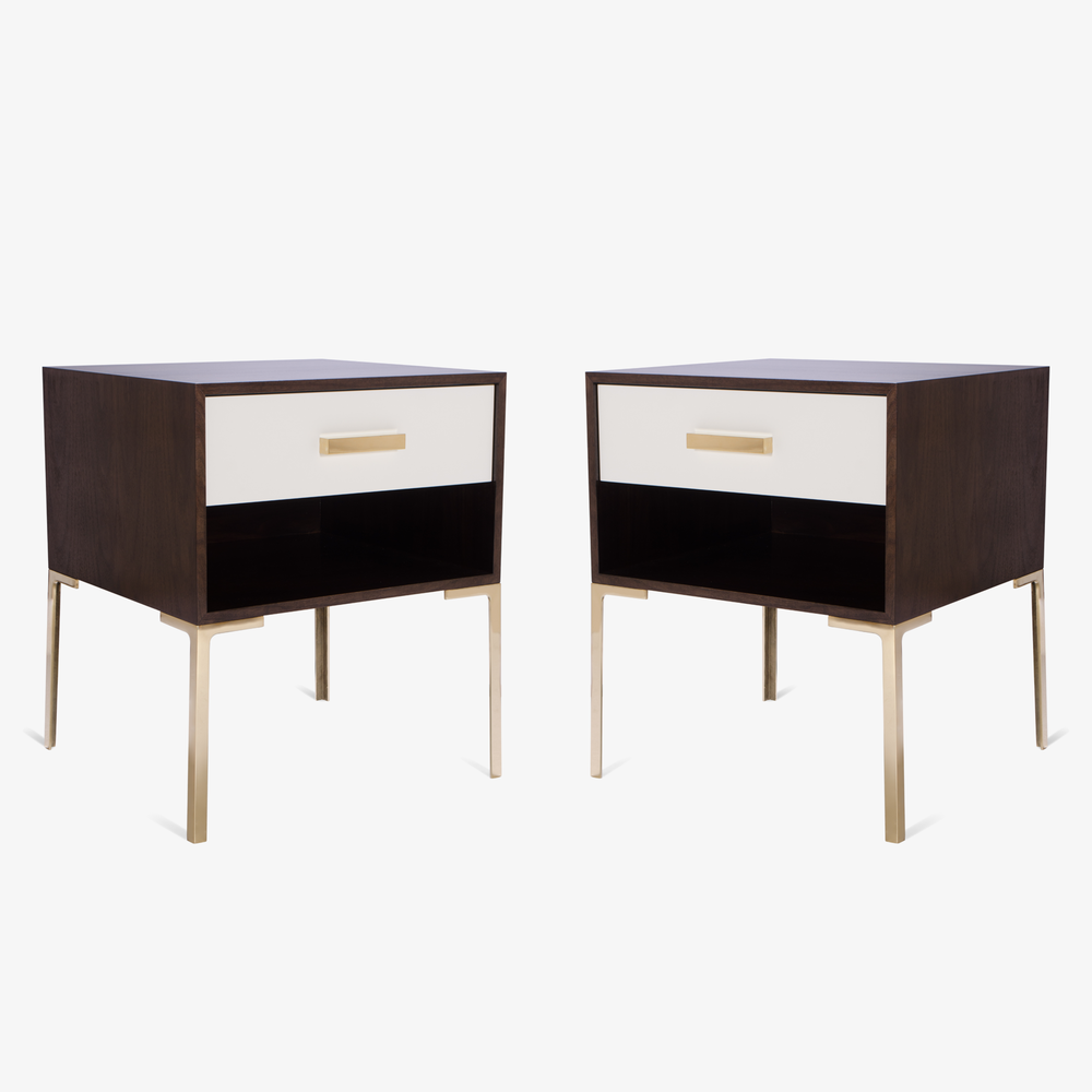 Montage Astor Tall Brass Nightstands in Walnut