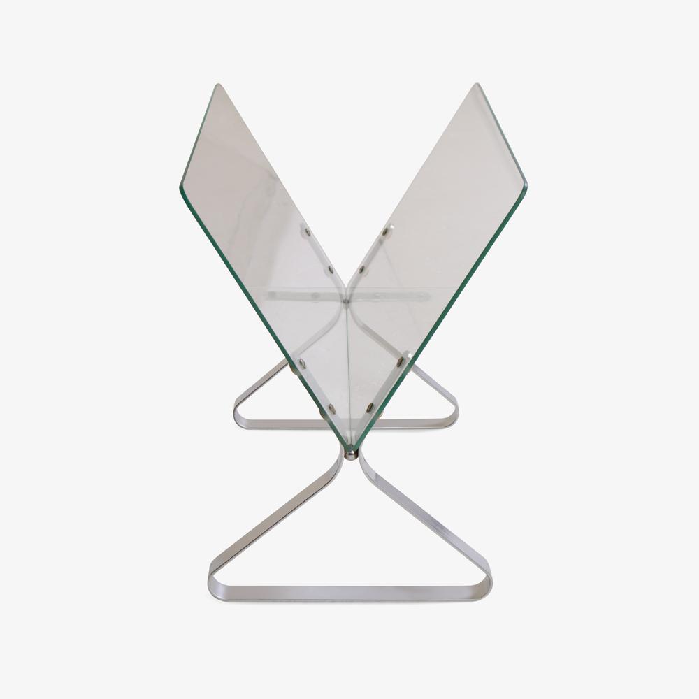 Milo Baughman Glass & Chrome Magazine Rack2.png
