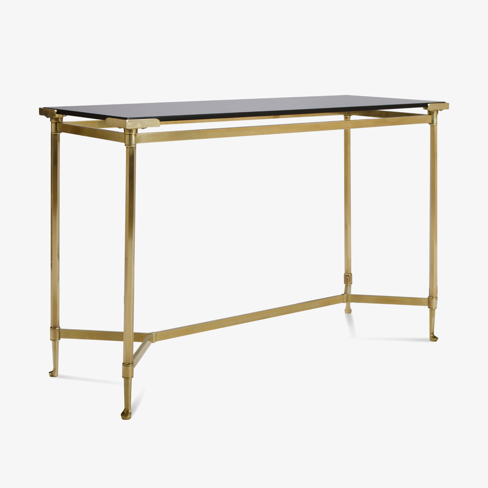 French Brass Console with Floating Smoked Glass