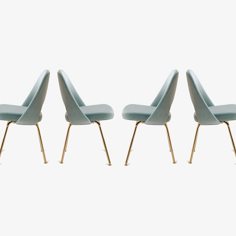 Saarinen Executive Armless Chairs in Celadon Velvet, 24k Gold Edition3.png