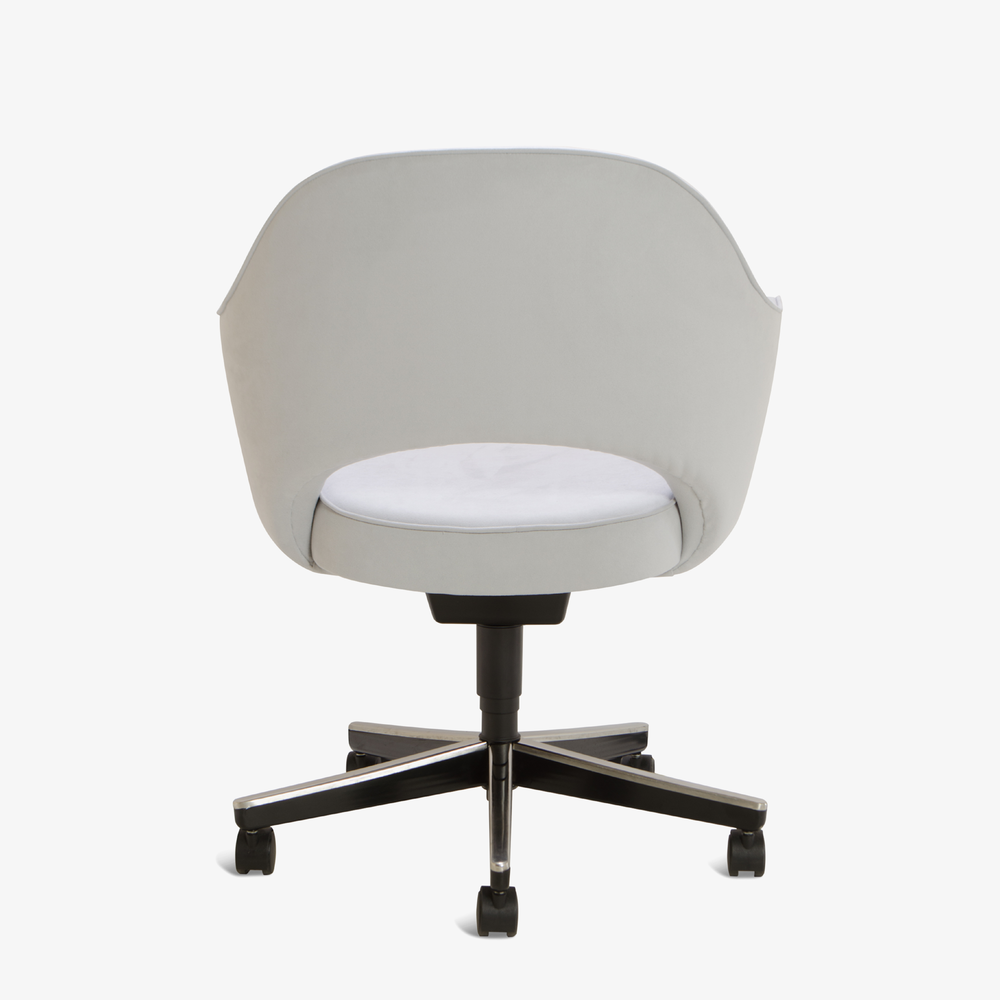 Saarinen Executive Arm Chair in Fog Luxe Suede, Swivel Base3.png
