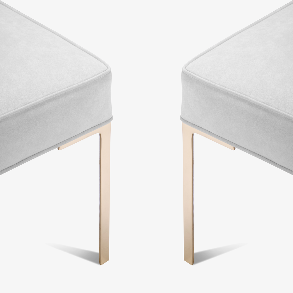 Astor Brass Ottomans in Luxe Suede by Montage