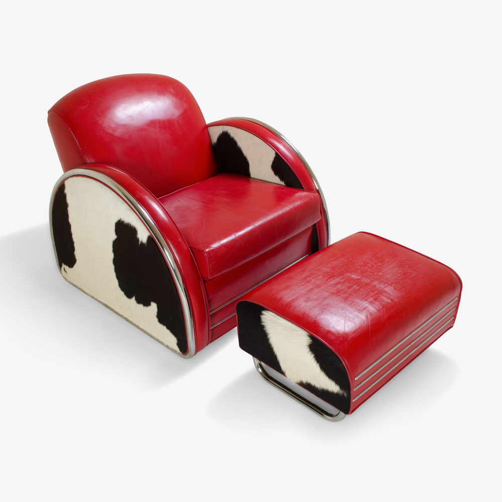 Art-Deco Cowhide/Leather Club Chair & Ottoman