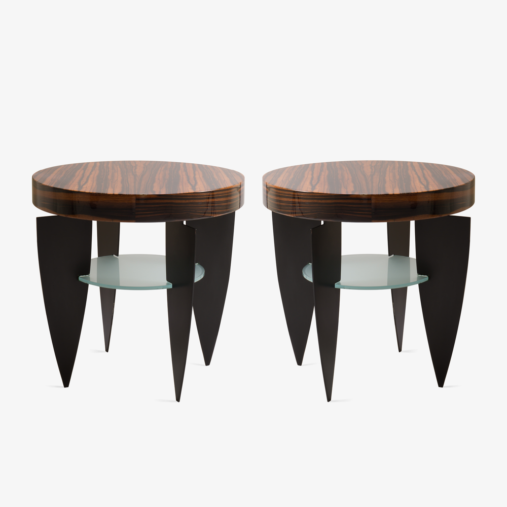 Memphis Style Zebrawood, Glass, and Steel Side Tables by Pace2.png