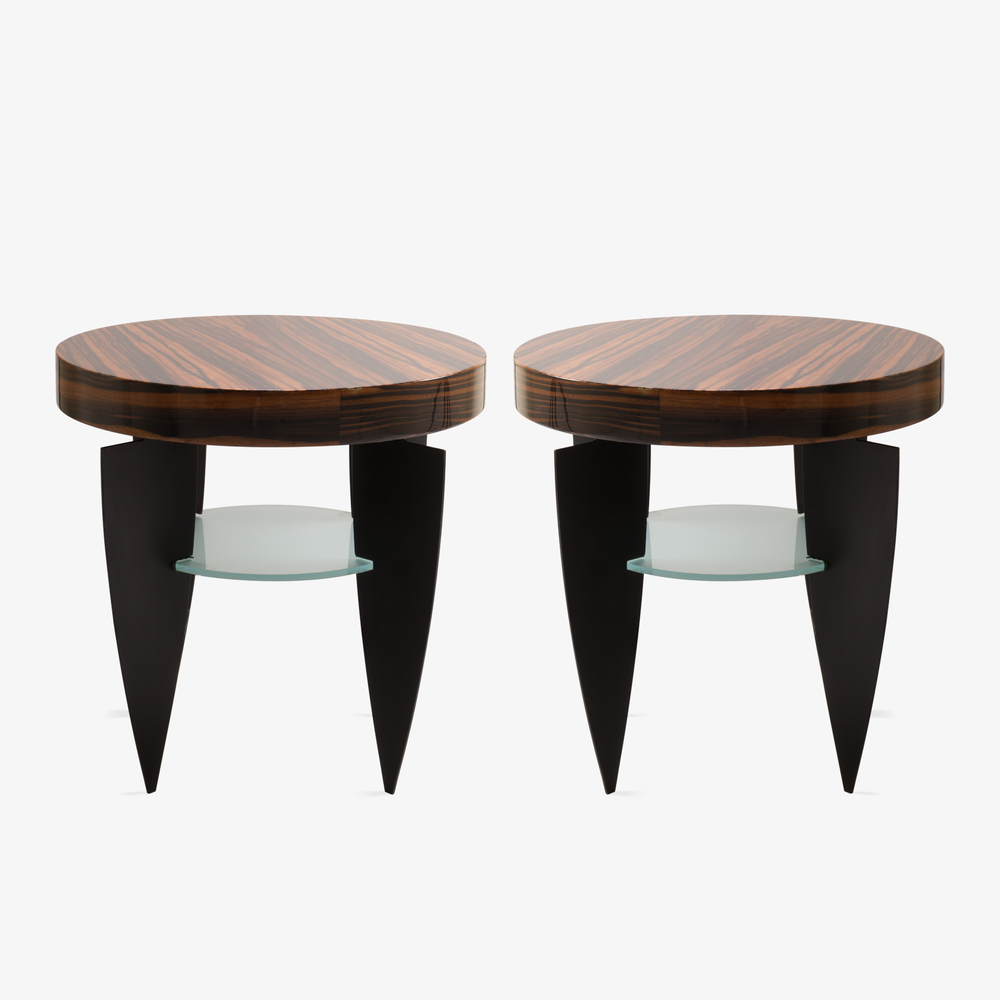 Memphis Style Zebrawood, Glass, and Steel Side Tables by Pace.png