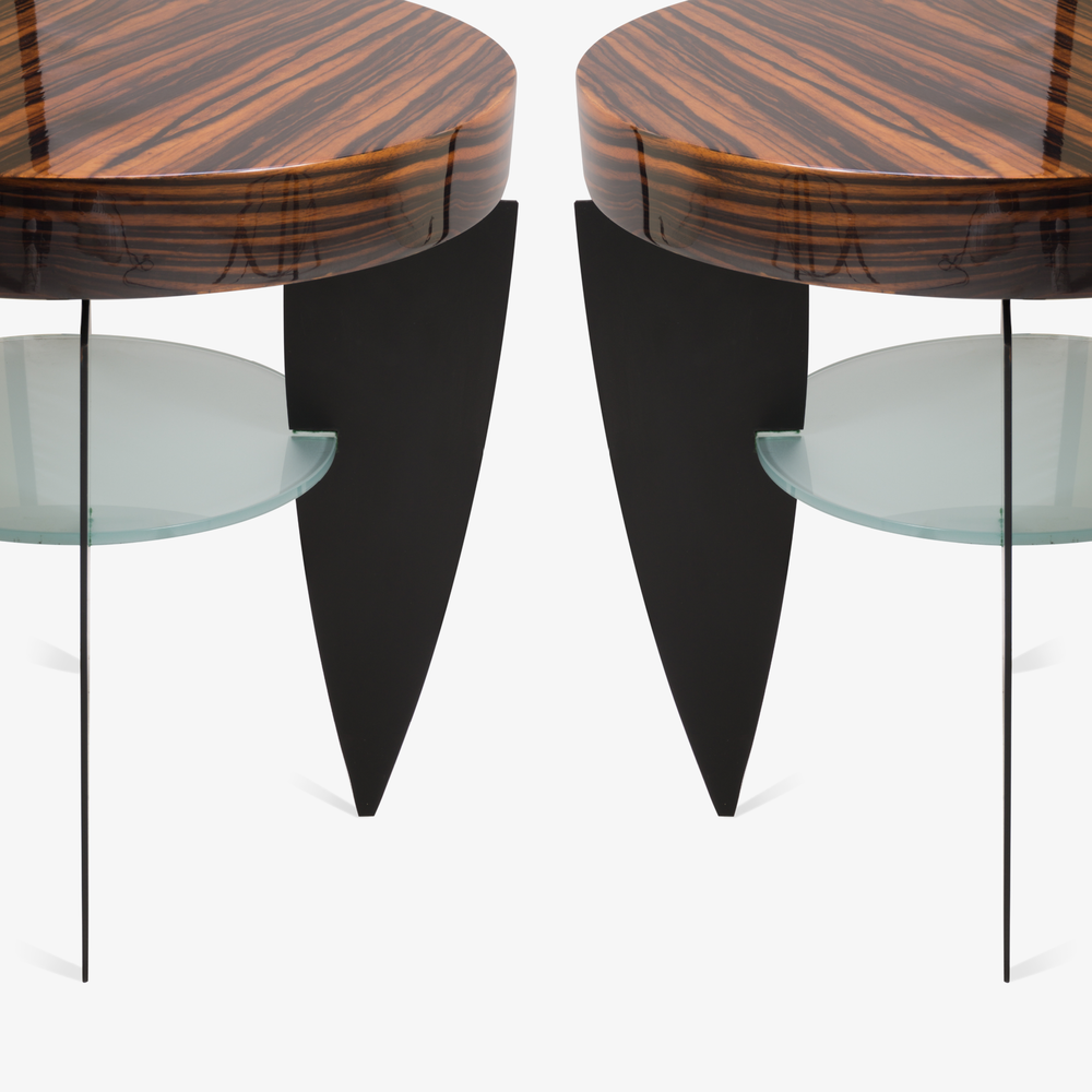 Memphis Style Zebrawood, Glass, and Steel Side Tables by Pace3.png