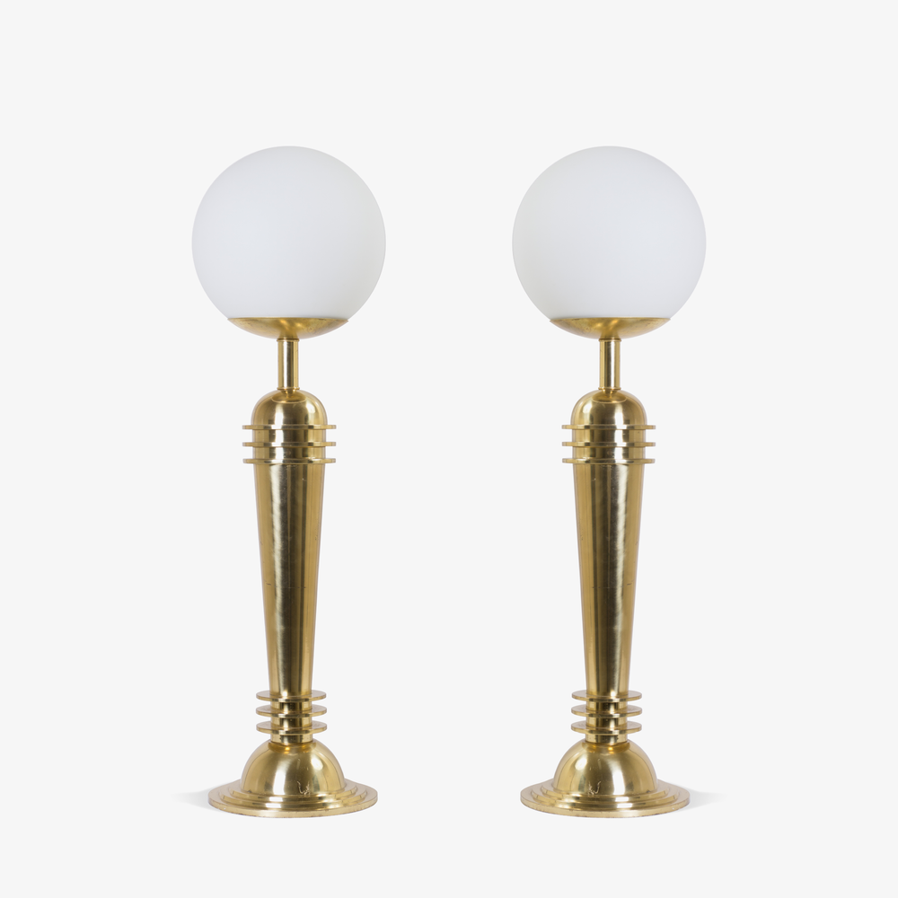 Art Deco Brass Lamps with Frosted Glass Globes.png