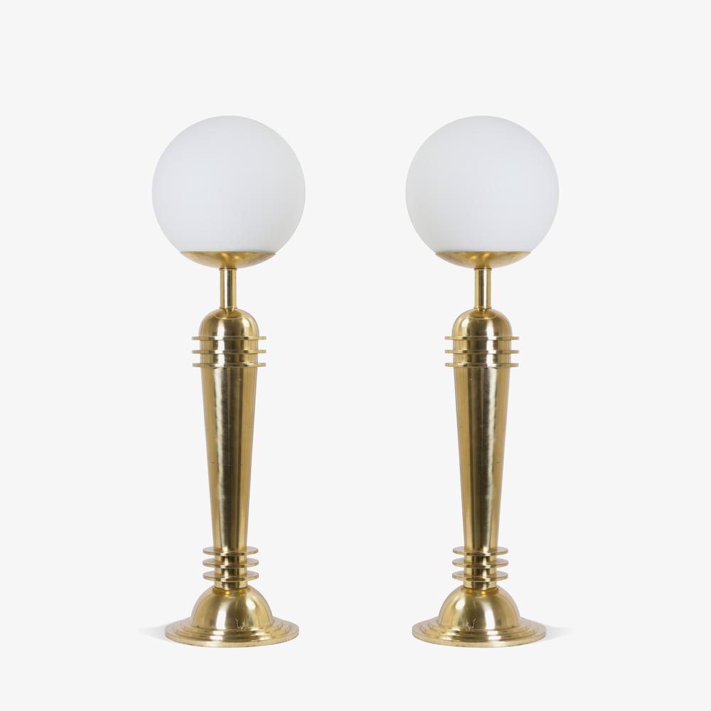Art Deco Brass Globe Lamps