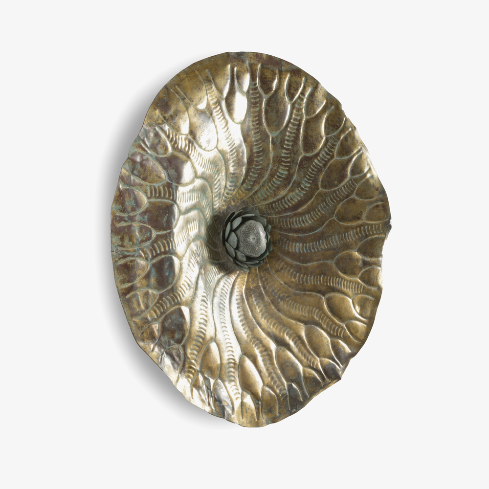Hammered Brass Lotus from Tibet