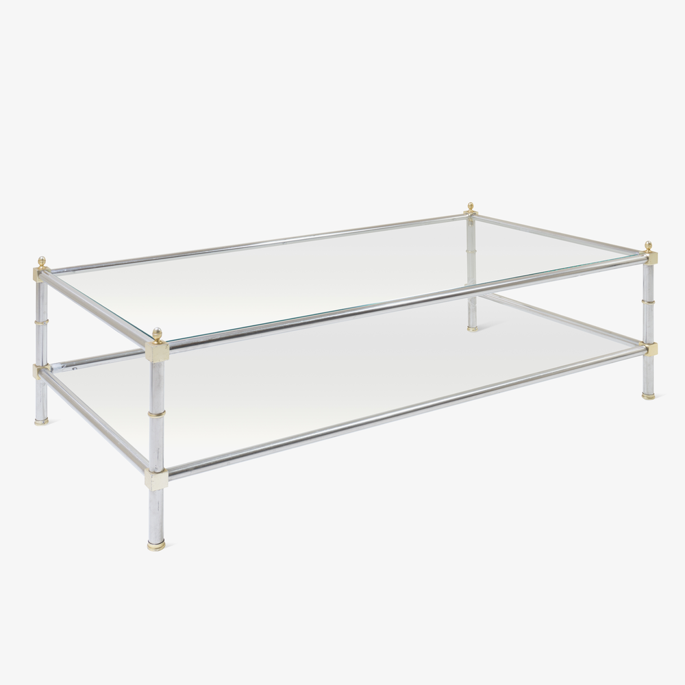 Maison Jansen Style Nickel & Brass Cocktail Table2.png