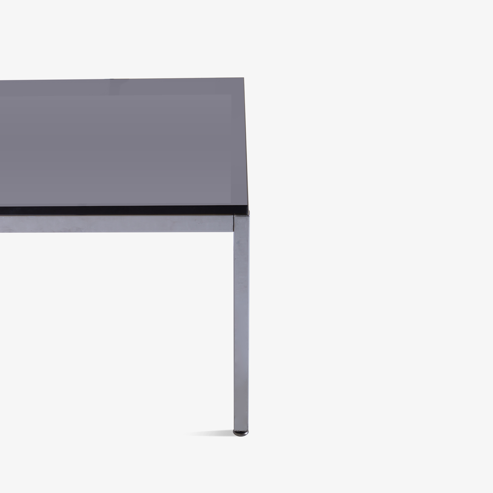 Minimalist Square Chrome Cocktail Table with Smoked Glass3.png