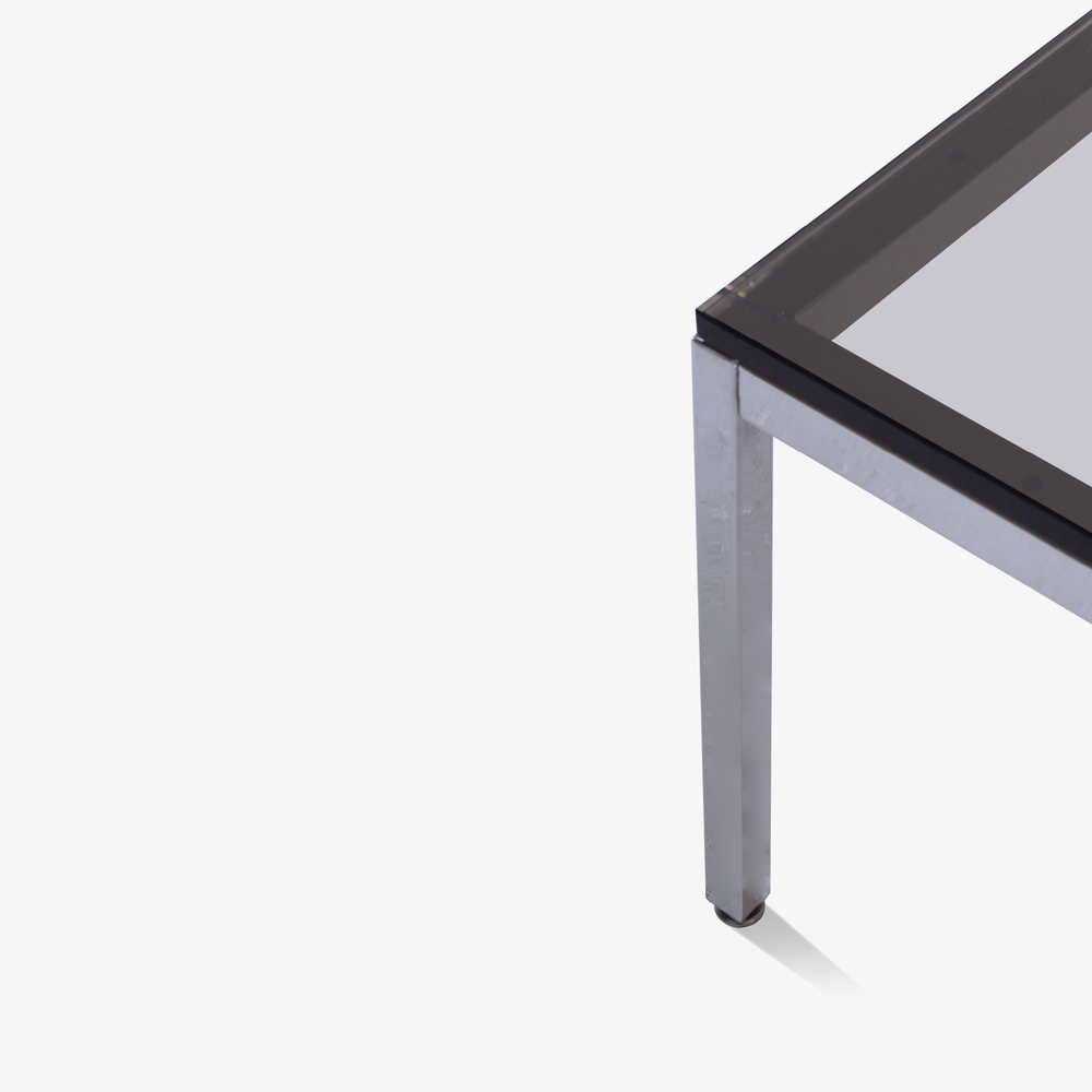 Minimalist Square Chrome Cocktail Table with Smoked Glass4.png