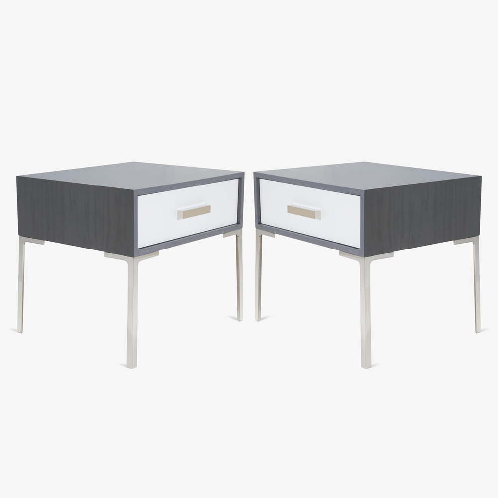 Montage Astor Nickel Nightstands in Washed Gray Oak