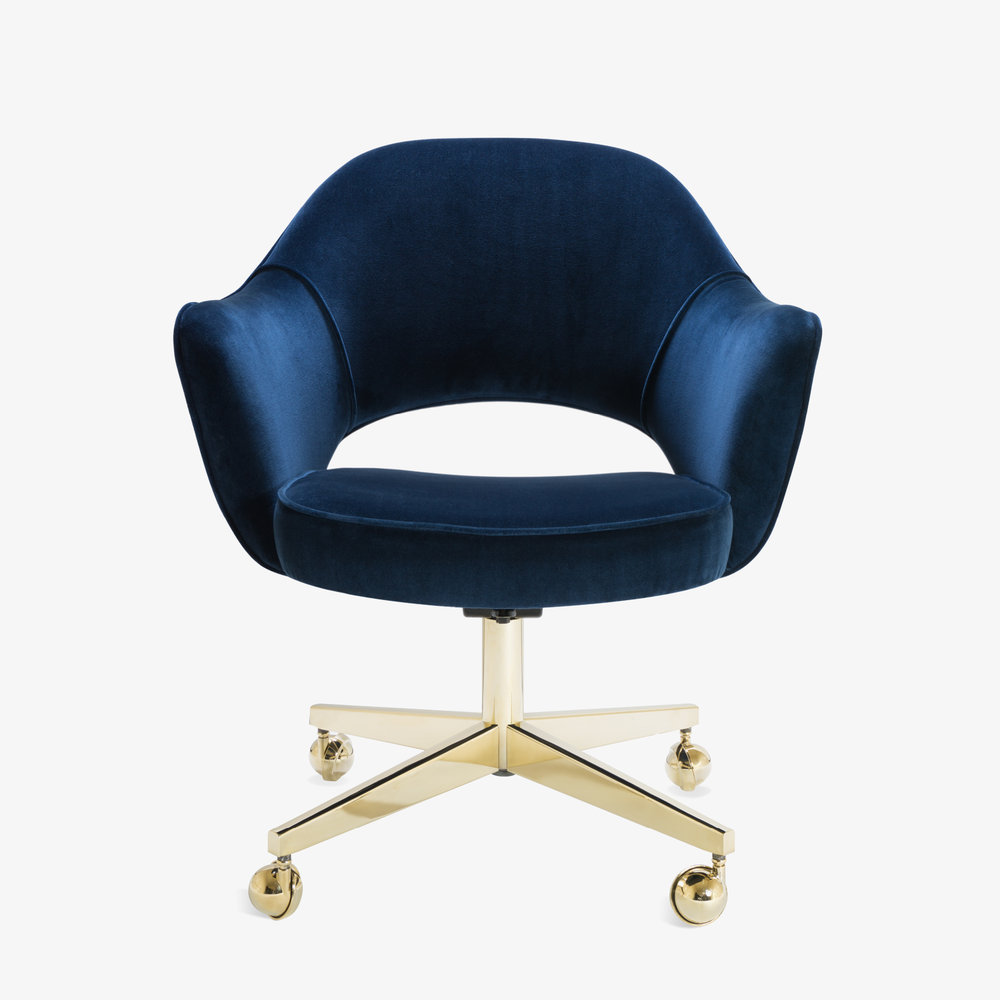 Saarinen Executive Arm Chair in Navy Velvet, Swivel Base, 24k Gold Edition2.png