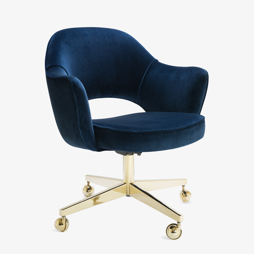Saarinen Executive Arm Chair In Navy Velvet, Swivel Base, 24k Gold  Edition3.png