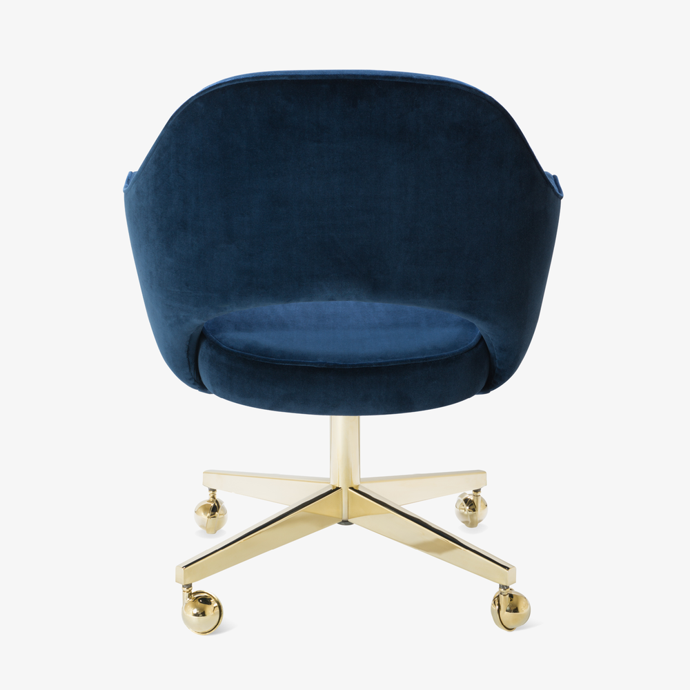 Saarinen Executive Arm Chair in Navy Velvet, Swivel Base, 24k Gold Edition6.png