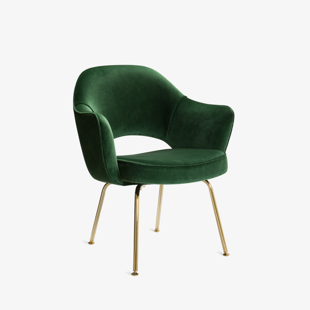 Saarinen Executive Arm Chair in Emerald Velvet, 24k Gold Edition2.png