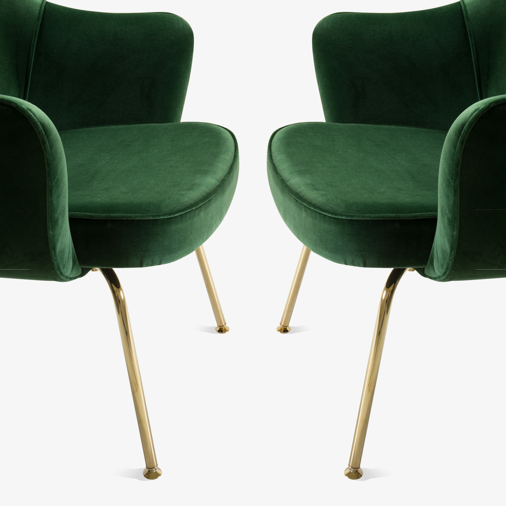 Saarinen Executive Arm Chair in Emerald Velvet, 24k Gold Edition5.png