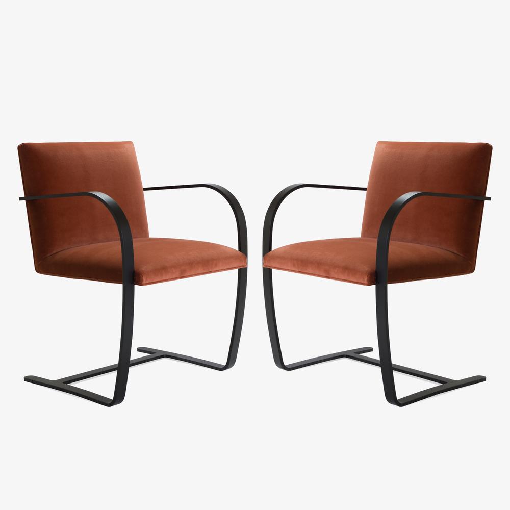 Brno Flat-Bar Chair in Rust Velvet, Obsidian Matte3.png