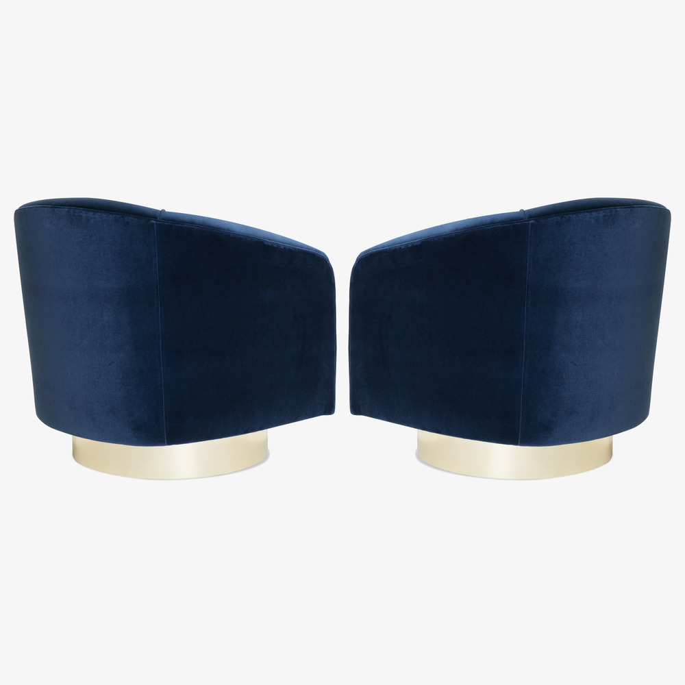Swivel Tub Chairs in Navy Velvet with Polished Brass Bases, Pair4.png