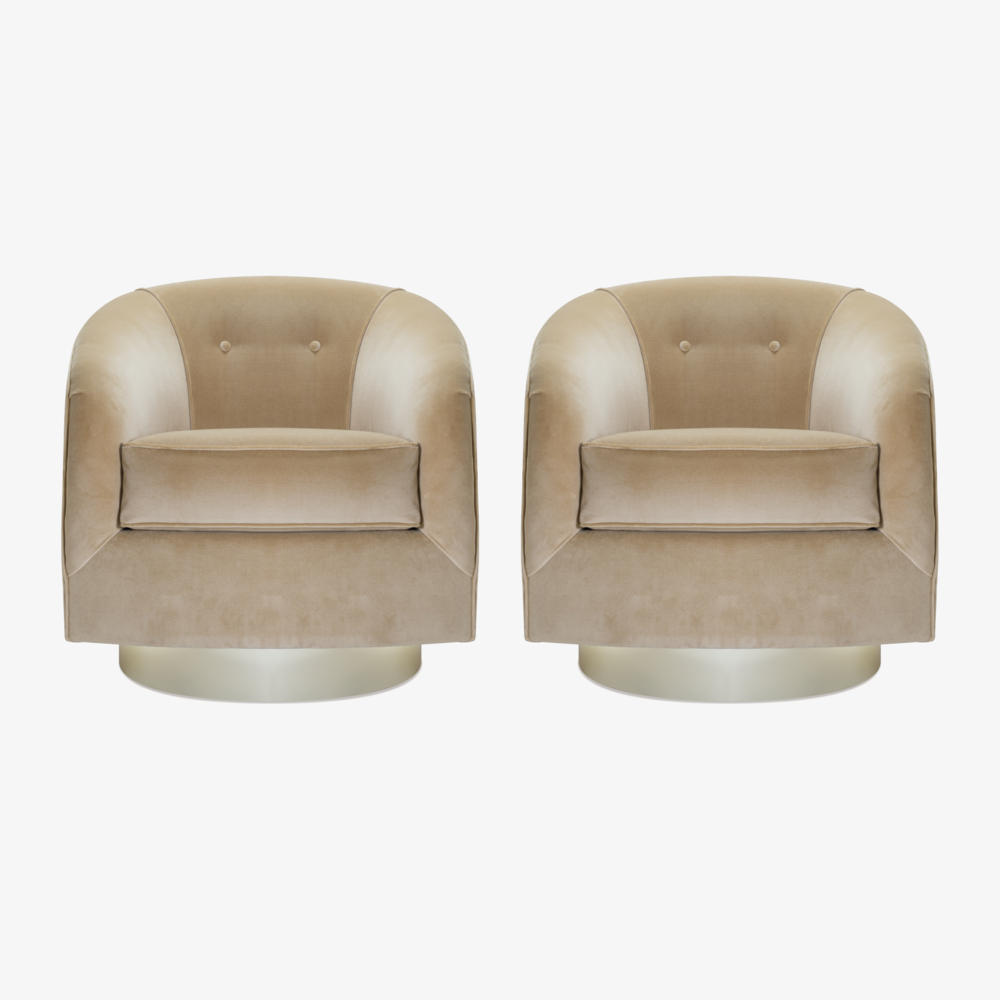 Swivel Tub Chairs with Brass Bases in Camel Velvet.png