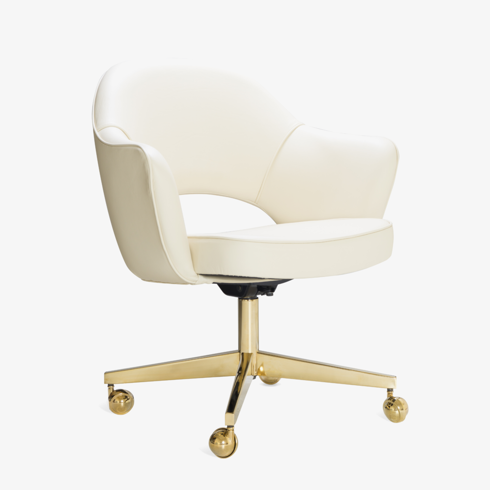 Saarinen Executive Arm Chair in Creme Leather, Swivel Base, 24k Gold Edition.png