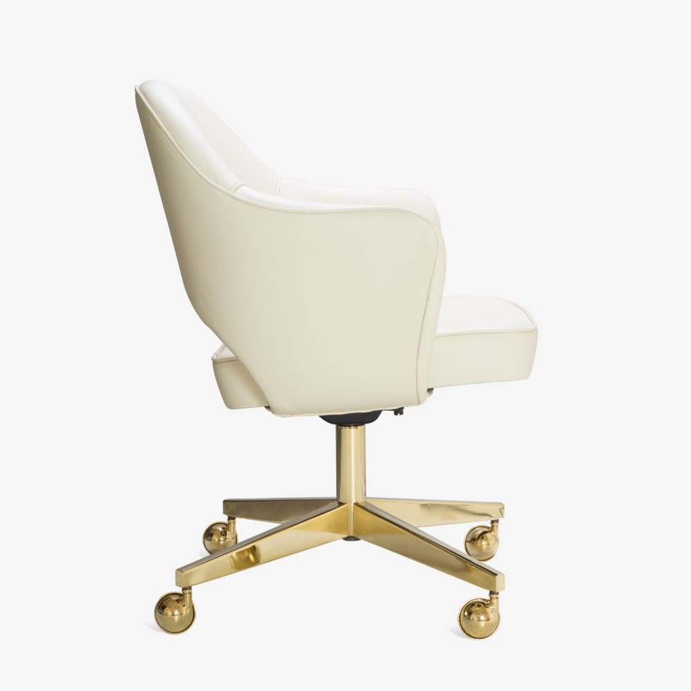 Saarinen Executive Arm Chair in Creme Leather, Swivel Base, 24k Gold Edition3.png