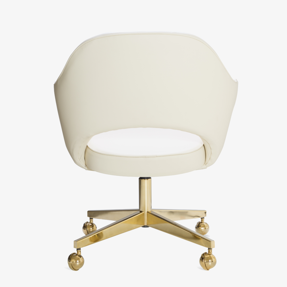 Saarinen Executive Arm Chair in Creme Leather, Swivel Base, 24k Gold Edition5.png