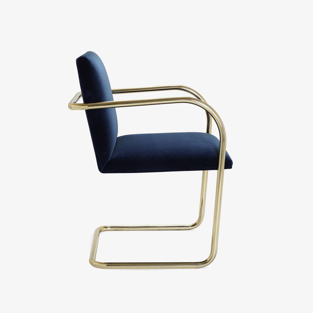 Brno Tubular Chair in Velvet, Polished Brass3.png