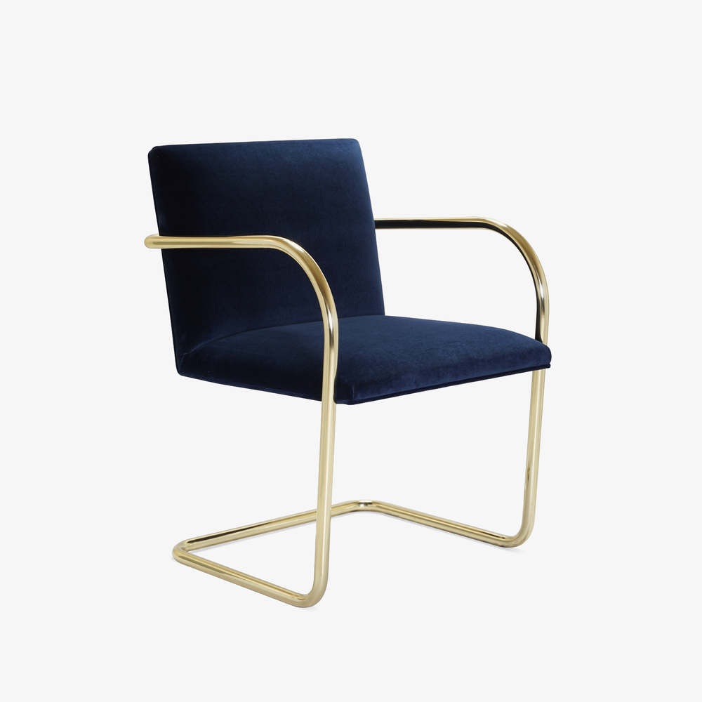 Brno Tubular Chair in Velvet, Polished Brass2.png