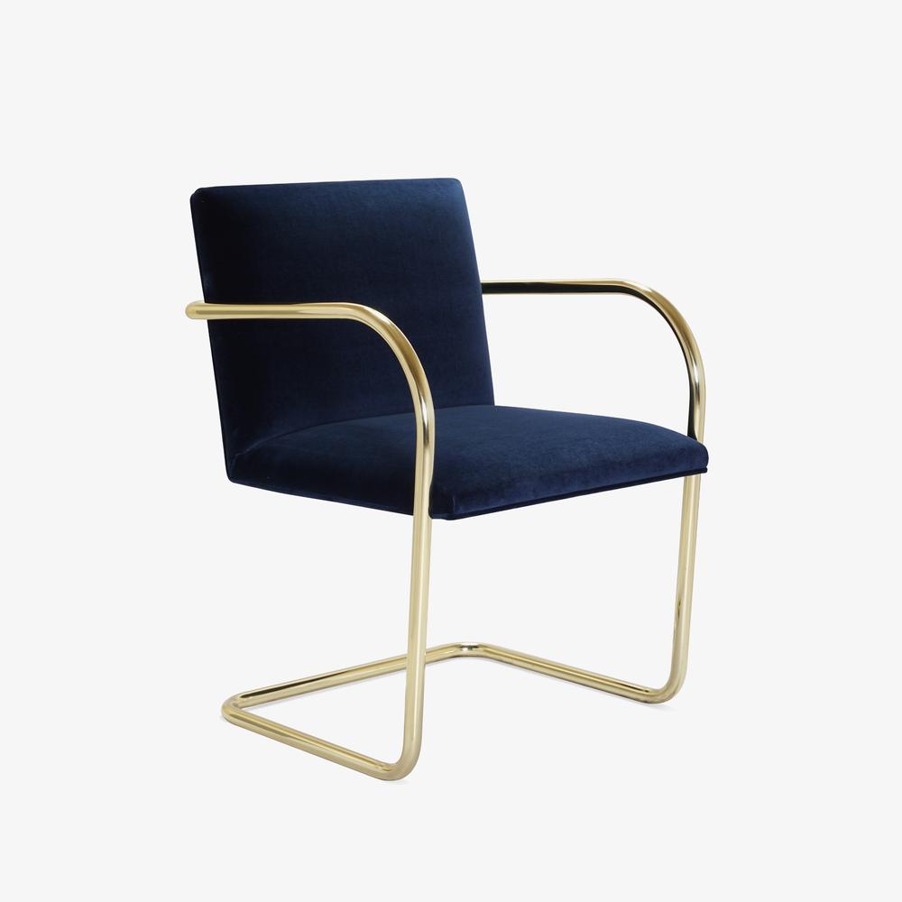 Brno Tubular Chair in Velvet, Polished Brass2.png