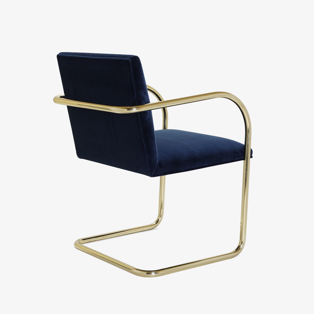 Brno Tubular Chair in Velvet, Polished Brass4.png