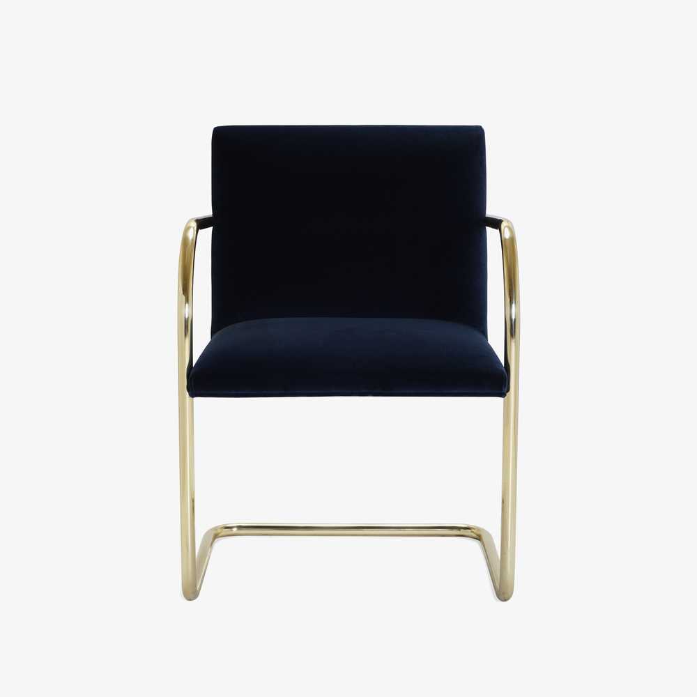 Brno Tubular Chair in Velvet, Polished Brass6.png