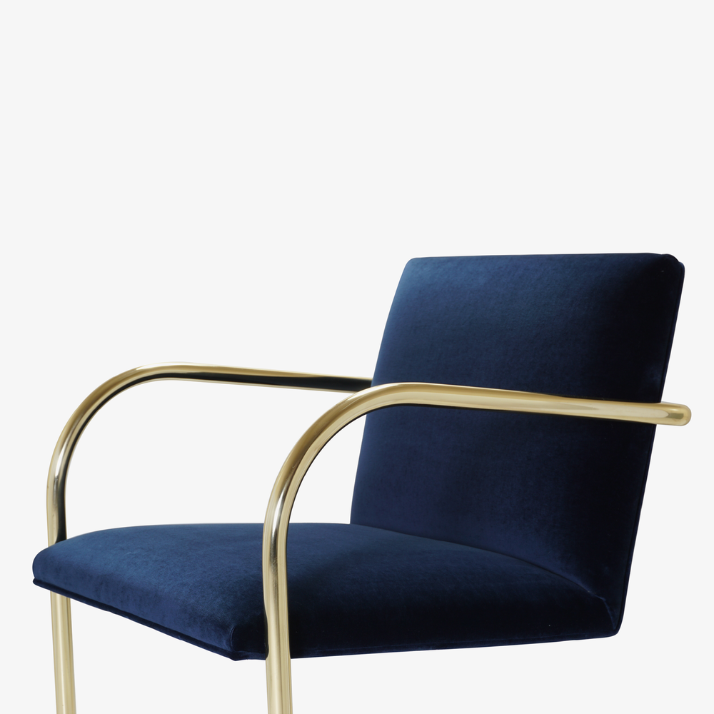 Brno Tubular Chair in Velvet, Polished Brass7.png