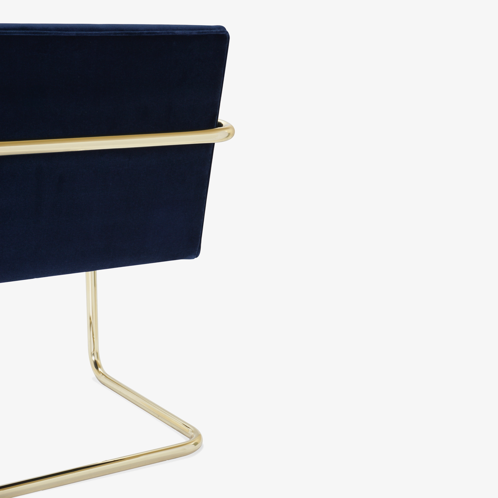 Brno Tubular Chair in Velvet, Polished Brass10.png