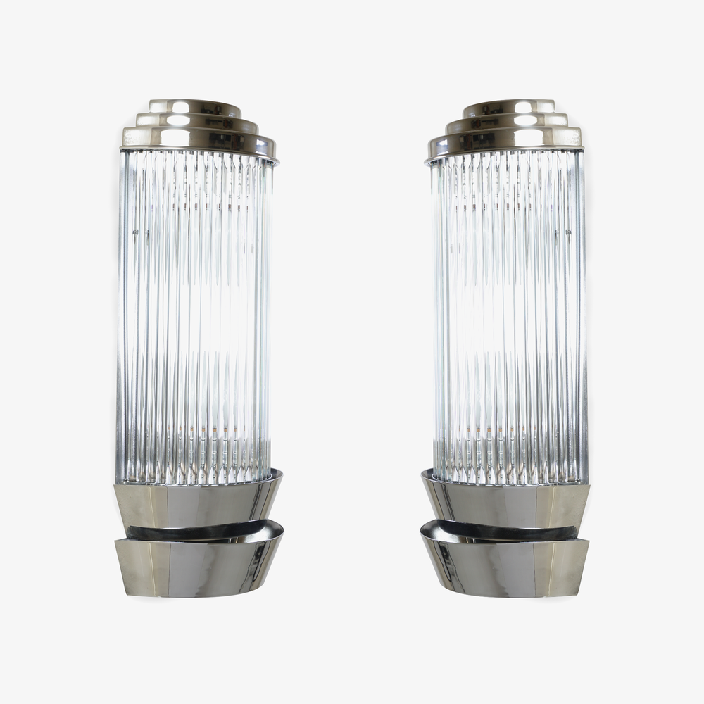 Art-Deco Sconces in Glass & Nickel by Petitot2.png