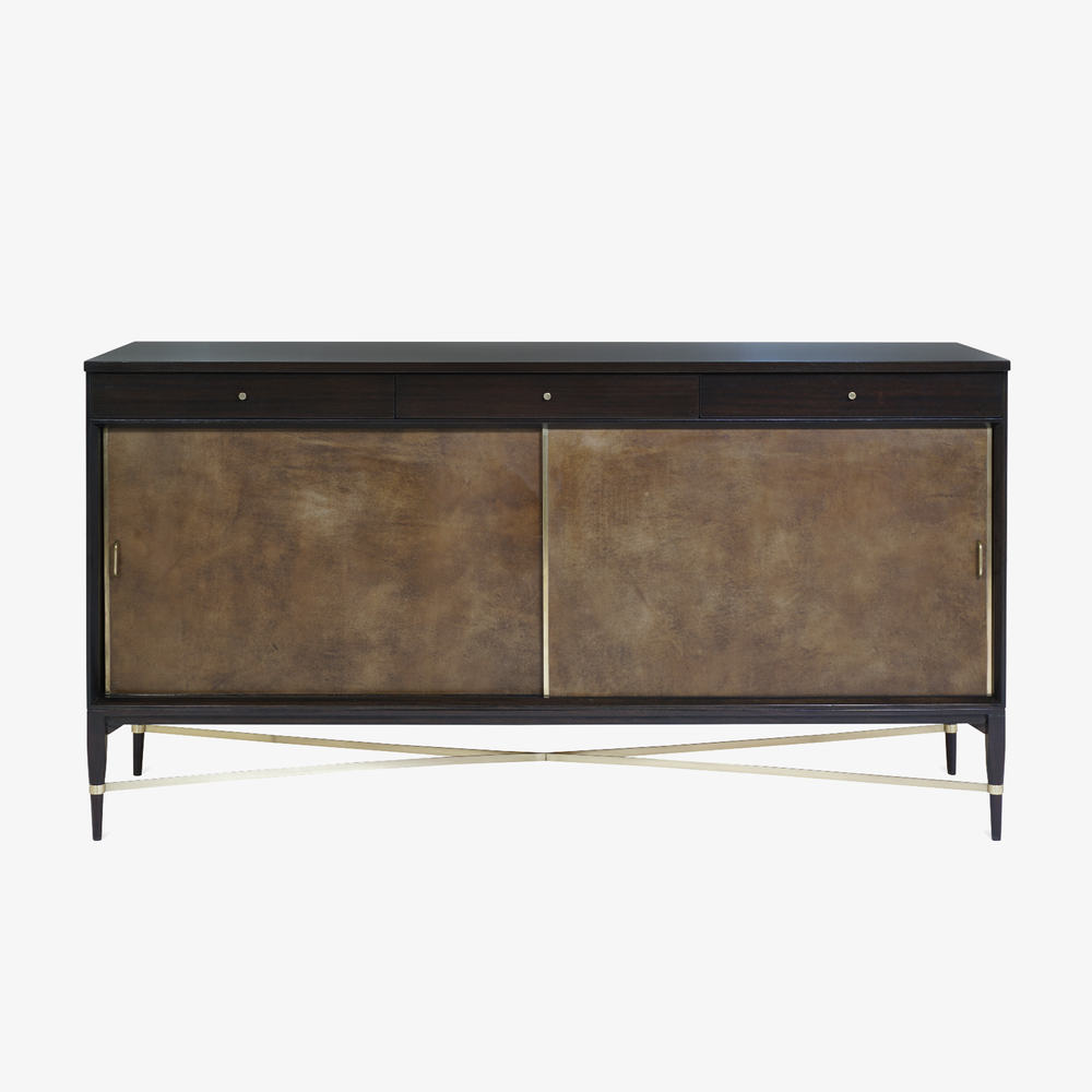 Walnut & Brass Cross Stretcher Credenza by Paul McCobb for Calvin Group.png