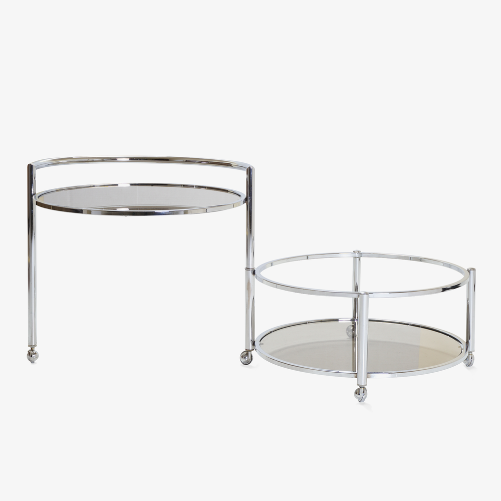 Round 2-Tier Expandable Rolling Bar Cart in Chrome with Smoked Glass3.png