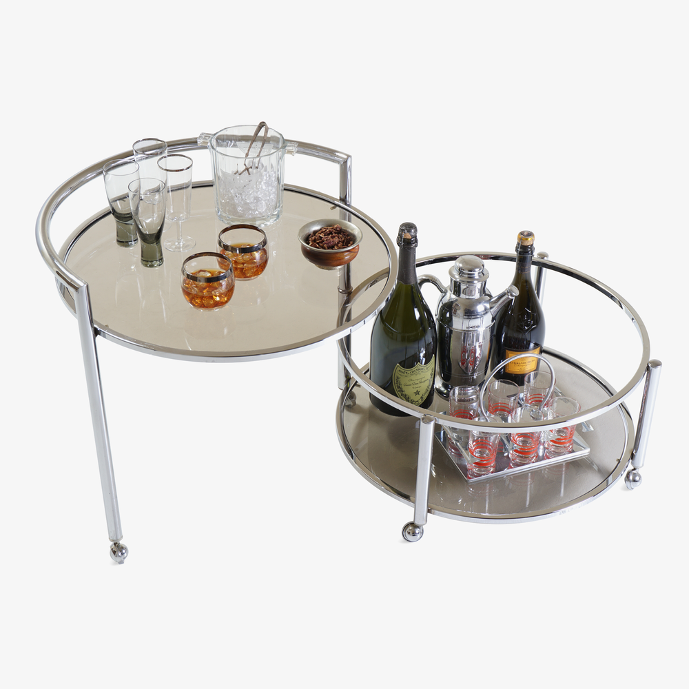 Round 2-Tier Expandable Rolling Bar Cart in Chrome with Smoked Glass4.png