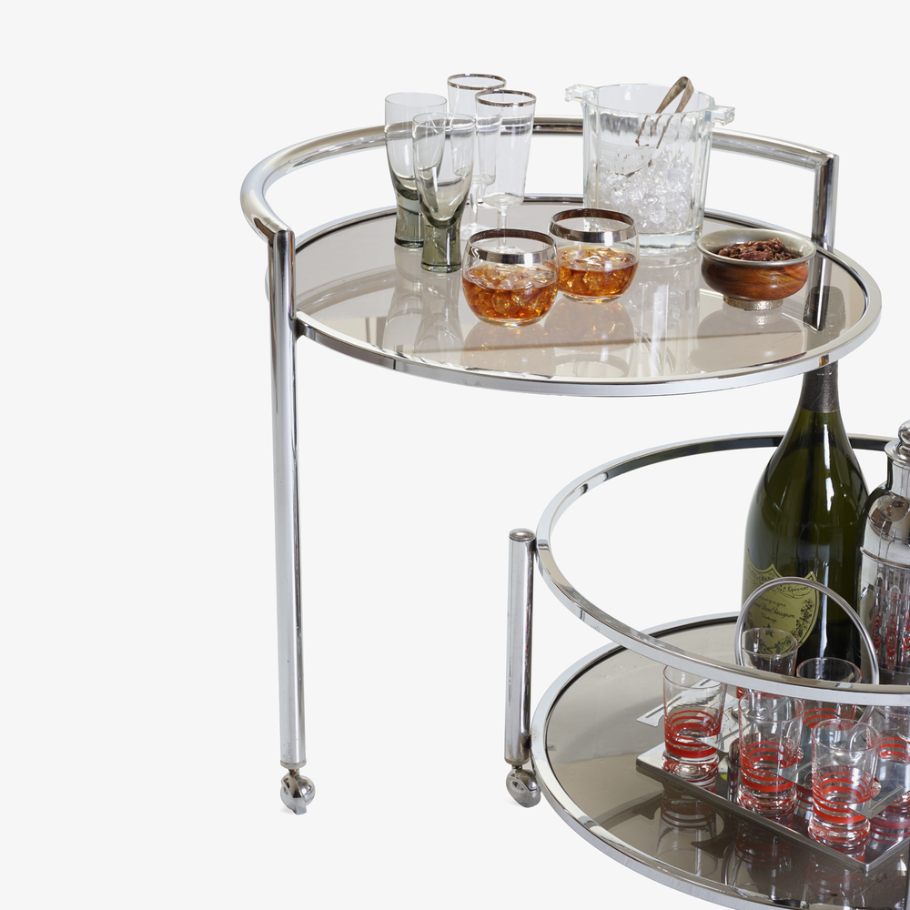 Round 2-Tier Expandable Rolling Bar Cart in Chrome with Smoked Glass5.png