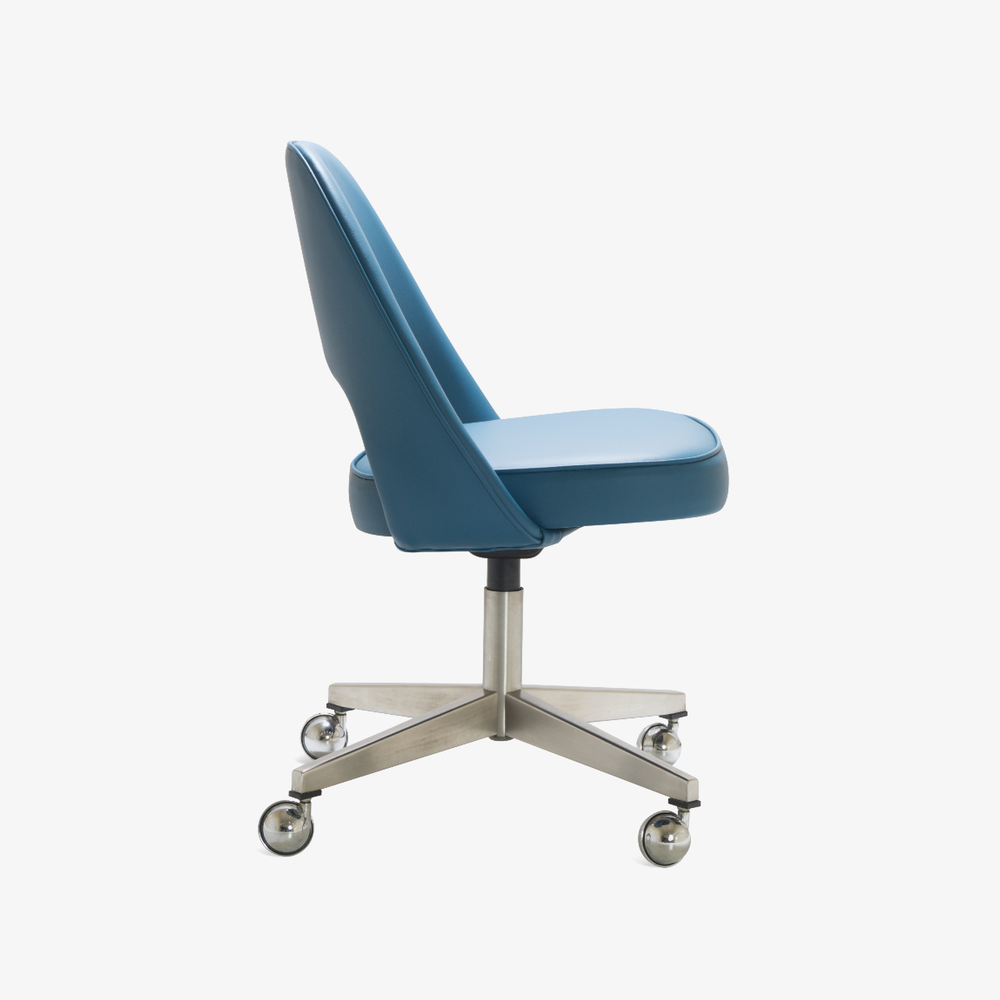 Saarinen Executive Armless Chair in Pelle Faux Leather, Swivel Base2.png