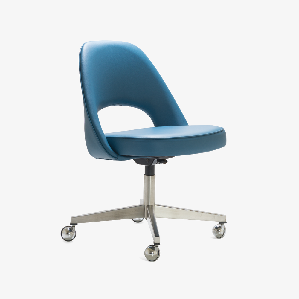 Saarinen Executive Armless Chair in Pelle Faux Leather, Swivel Base.png