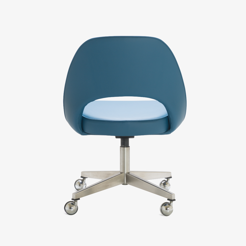 Saarinen Executive Armless Chair in Pelle Faux Leather, Swivel Base5.png