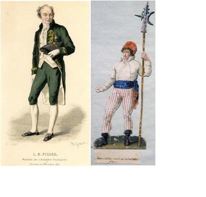 A gauche: Culotte ~sorte de pantacourt ~ aristocratie A droite: Sans Culotte ~ pantalon ~ révolutionnaires