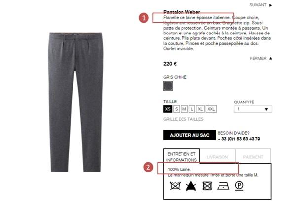 Par contre pour les pantalons plus haut de gamme, ce genre de détails est souvent précisé