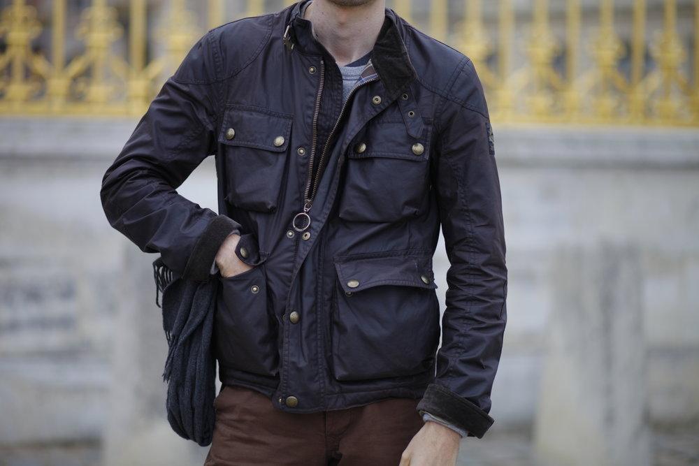 Belstaff - Blouson court en coton waxé - 4 poches frontales