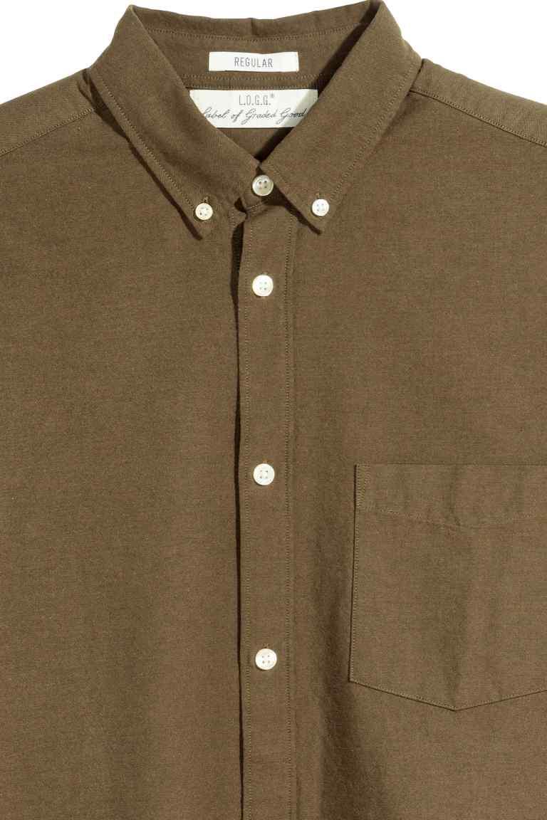 chemise oxford coton pas cher KAKI 2.jpg