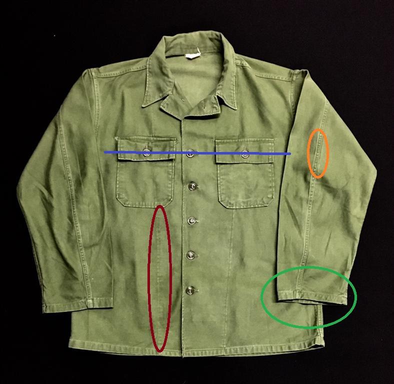 Caractéristiques d'une chemise type 1 (1st pattern)