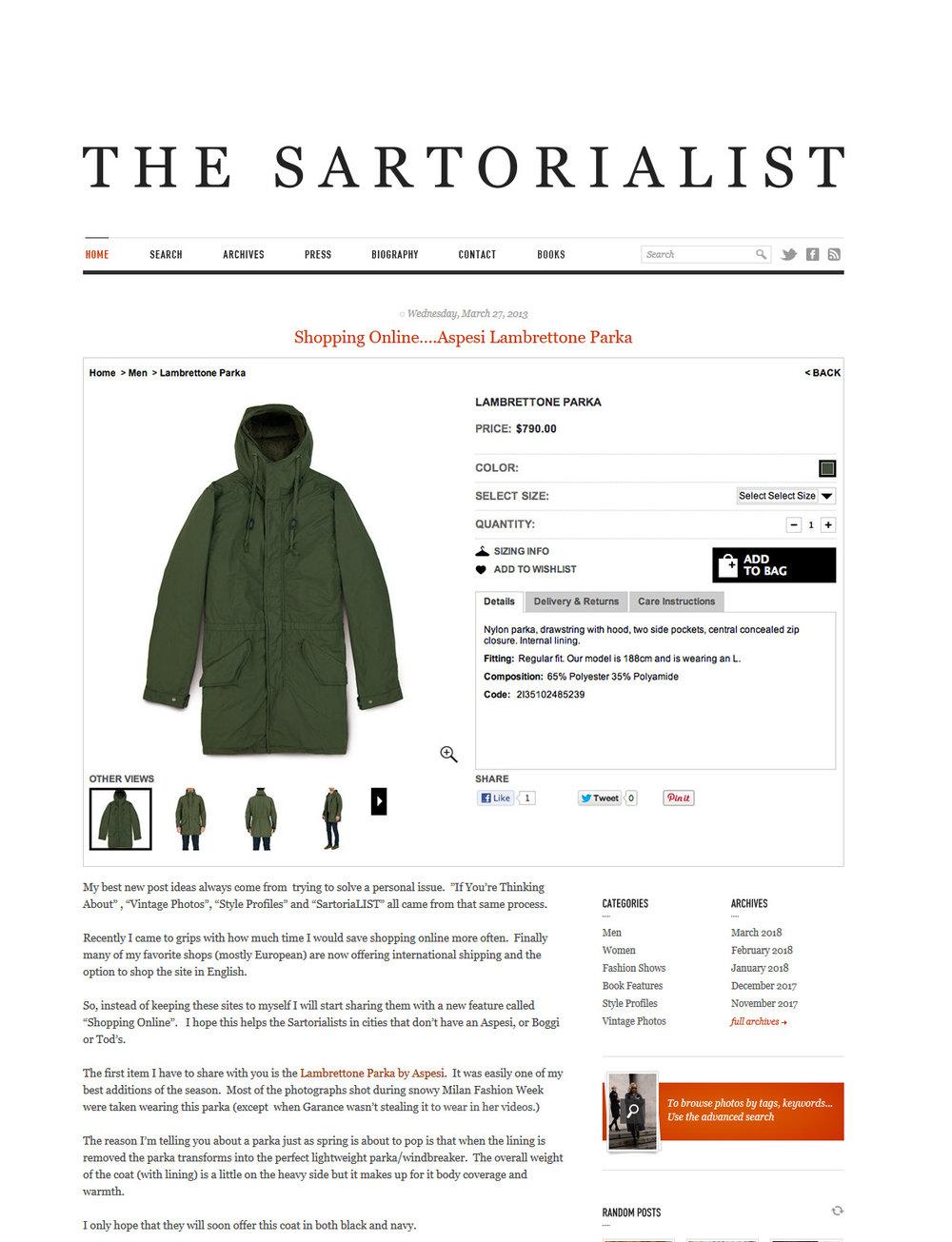 On a retrouvé un des longs articles de Scott Schuman mettant en avant la marque