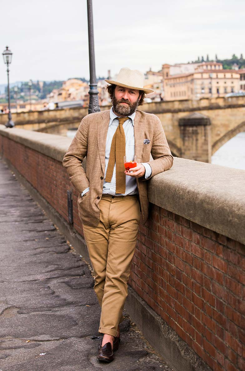 David Coggins lors du Pitti Uomo à Florence - Photo par Jamie Ferguson pour Drake's London